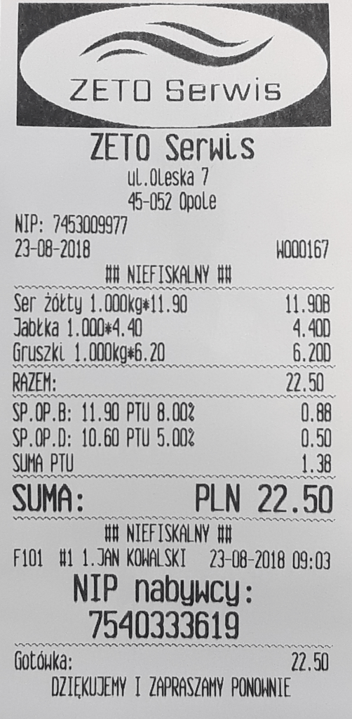 NIP na paragonie fiskalnym kasy fiskalne Opole